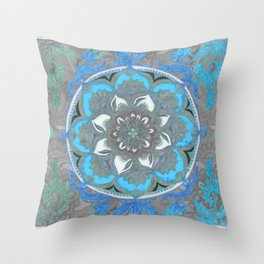 Mint Green, Blue & Aqua Super Boho Medallions Throw Pillow