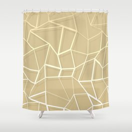 Floating Shapes Gold - Mid-Century Minimalist Graphic Shower Curtain