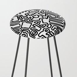 black & white doodle Counter Stool