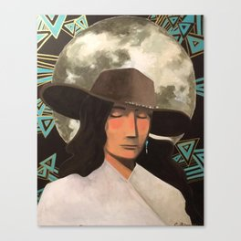 Portrait of A Southwestern Traveler with The Moon & Geometric Shapes In The Background Canvas Print