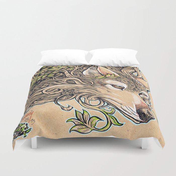 Dog of the Mountain - Honshu Wolf Duvet Cover