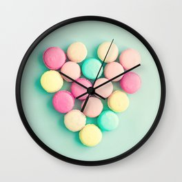 Macarons, macaroons heart II, pop art Wall Clock