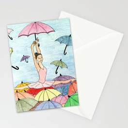 Dance with umbrellas Stationery Cards
