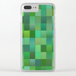 Green Mosaic Tile Pattern Clear iPhone Case