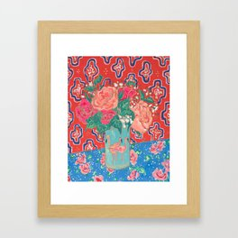 Roses in Enamel Flamingo Vase Framed Art Print