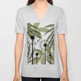 Mixed Leaves with Dandelions Flowers green white Unisex V-Neck