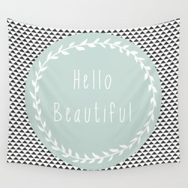 Hello Beautiful, Geometric, Quote, Modern, Home Decor Wall Tapestry