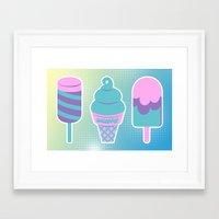 novelty Framed Art Prints featuring Sugarpop Novelty Ice Cream by KawaiiMachine