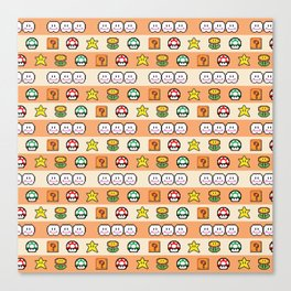 Pixel Game Retro (Orange) Canvas Print