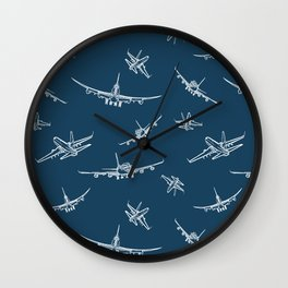 Airplanes on Navy Wall Clock