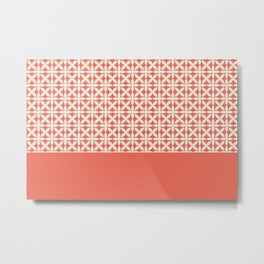 Pantone Cannoli Cream Square Petal Pattern on Pantone Living Coral Metal Print