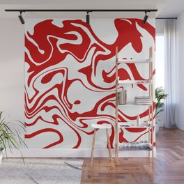 Holiday Red Liquid Marble Effect Pattern Wall Mural