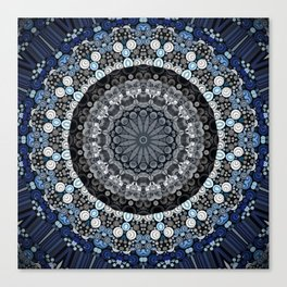 Dark Blue Grey Mandala Design Canvas Print