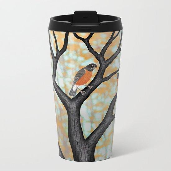 American robins at sunrise Metal Travel Mug