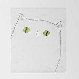 White Cat Face Throw Blanket