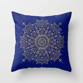 Moroccan Mandala – Gold Ink on Navy Throw Pillow
