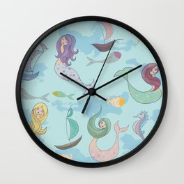 Mermaids, Sea and Boats Pattern Wall Clock