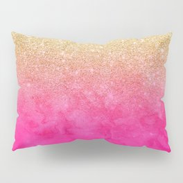 Modern girly gold glitter ombre fade neon pink watercolor Pillow Sham