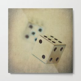 Vintage Chrome Dice Metal Print