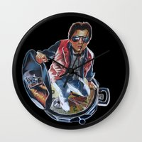mcfly Wall Clocks featuring MARTY MCFLY by John McGlynn