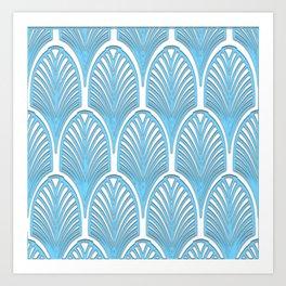 Art deco,deco,blue,white,elegant,chic,fan pattern, vintage,art nouveau,nelle epoque,victorian,beauti Art Print