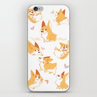 corgi iPhone & iPod Skins featuring Corgi by Inkinesss