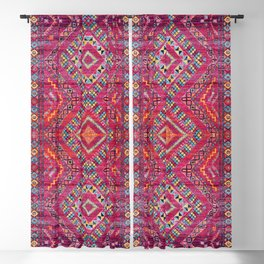 N118 - Pink Colored Oriental Traditional Bohemian Moroccan Artwork. Blackout Curtain