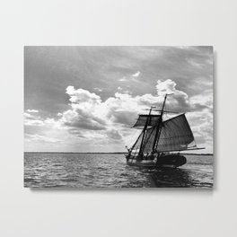 Black and White Tallship 2 Metal Print