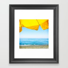 Yellow Beach Brolly with Blue Sea and Sky Framed Art Print