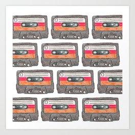 Cassette Pattern *Orange Art Print