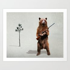 Bear with a shotgun Art Print