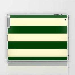 Dark Emerald Green and Cream Large Stripes Laptop & iPad Skin