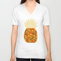 pineapple V-neck T-shirts featuring Pineapple by Picomodi