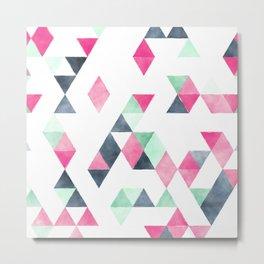 Geometrical pink mint green white gray watercolor Metal Print