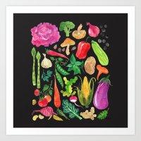oana befort Art Prints featuring VEGGIES in black by Oana Befort