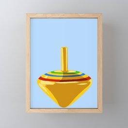 Yellow Spinning Top Framed Mini Art Print