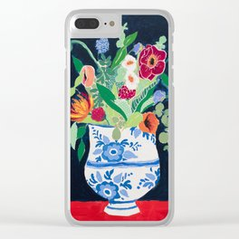 Bouquet of Flowers in Blue and White Urn on Navy Clear iPhone Case