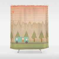 camping Shower Curtains featuring Camping Trip by Tammy Kushnir