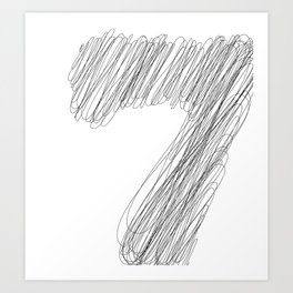 """ Cloud Collection "" - Minimal Number Seven Print Art Print"