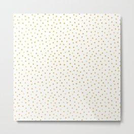 Medium Gold Watercolor Polka Dot Pattern Metal Print