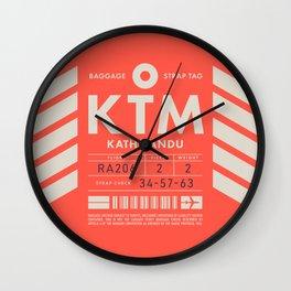 Baggage Tag D - KTM Kathmandu Tribhuvan Nepal Wall Clock
