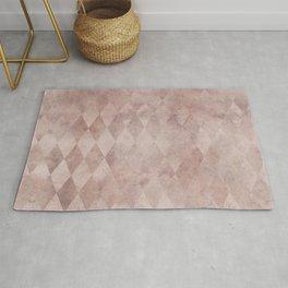 Chic Pink Grunge Diamond Pattern Rug