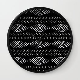 mudcloth 4 minimal textured black and white pattern home decor minimalist Wall Clock