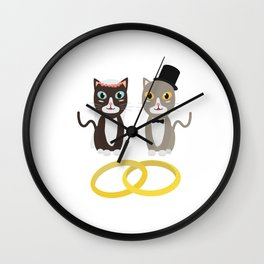 Wedding Cats with Rings Wall Clock