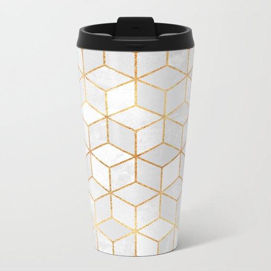 White Cubes Metal Travel Mug