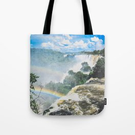 rainbow over waterfalls Tote Bag