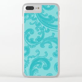 Retro Chic Swirl Teal Clear iPhone Case