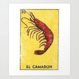 El Camaron Mexican Loteria Bingo Card Art Print