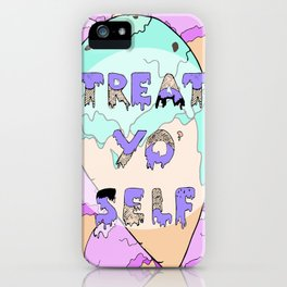TREAT YO' SELF ice-cream print  iPhone Case