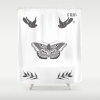 tattoos Shower Curtains featuring Harry Styles Chest Tattoos by Liz Swezey